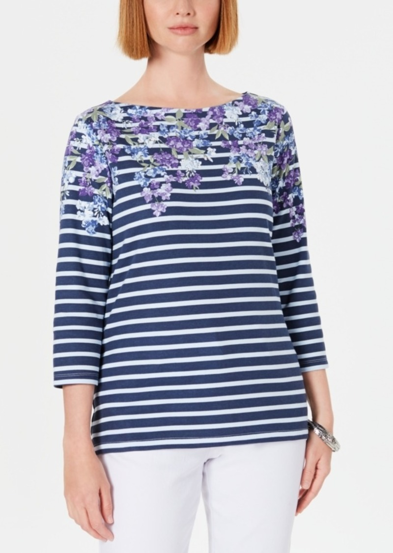 Karen Scott Three-Quarter-Sleeve Printed Top, Created For Macy's