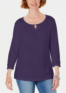 Karen Scott Three-Quarter Sleeve Top, Created For Macy's