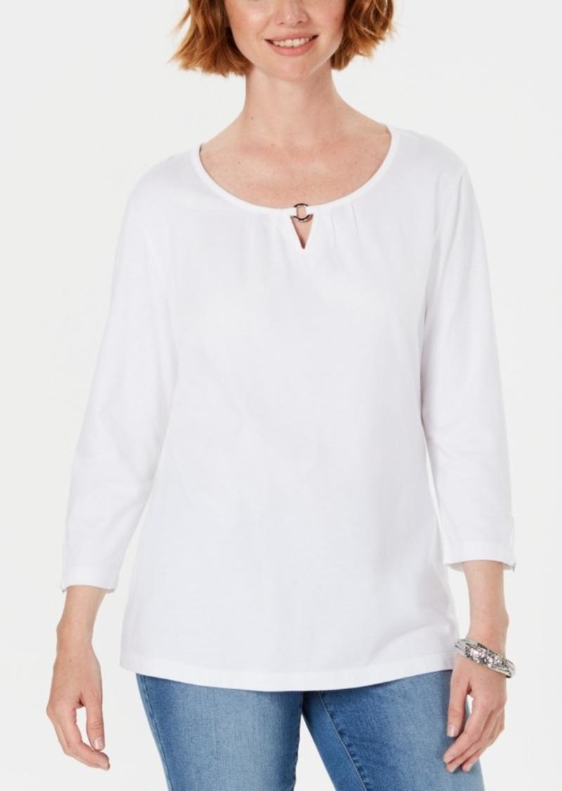 Karen Scott Three-Quarter Sleeve Top, Created For Macy's