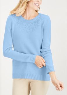 Karen Scott Tonal-Embroidered Sweater, Created for Macy's