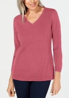 Karen Scott Luxsoft V-Neck Sweater, Created for Macy's