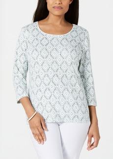 Karen Scott Vine-Print 3/4-Sleeve Top, Created for Macy's
