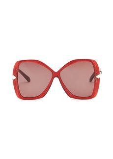 Karen Walker 60MM Mary Red Glitter Sunglasses