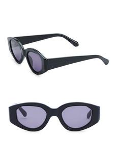 Karen Walker Castaway 48MM Oval Black Sunglasses