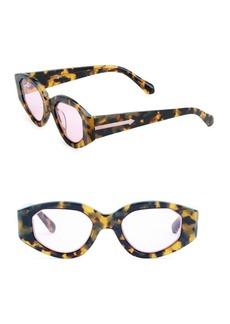 Karen Walker Castaway 48MM Oval Pink Lenses Sunglasses