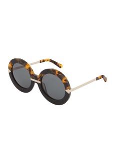 Karen Walker Hollywood Pool Round Contrast Havana Acetate/Metal Sunglasses
