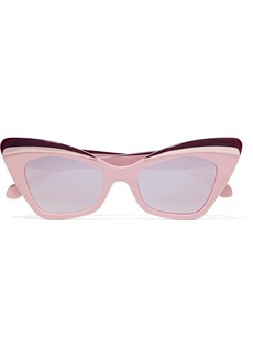 Karen Walker Babou cat-eye acetate and silver-tone mirrored sunglasses