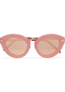 Karen Walker Lunar Flowerpatch cat-eye acetate and rose gold-tone mirrored sunglasses