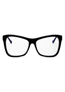 Karen Walker Unisex Square Blue Light Glasses, 56mm