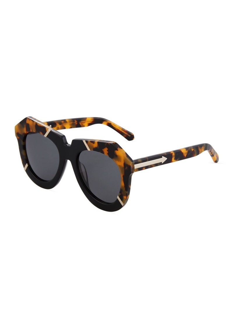 Karen Walker One Splash Acetate Round Havana Sunglasses