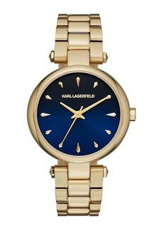 Karl Lagerfeld Aurelie Yellow Goldtone Stainless Steel Three-Hand Bracelet Watch