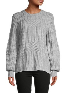 Karl Lagerfeld Cable-Knit Crewneck Sweater
