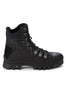 Karl Lagerfeld Croc-Embossed Leather Combat Boots