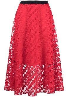 Karl Lagerfeld embroidered mesh skirt