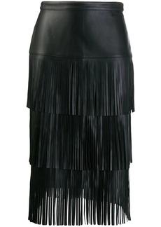 Karl Lagerfeld fringed leather skirt