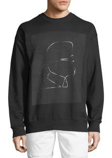 Karl Lagerfeld Grid-Logo Graphic Crewneck Sweatshirt