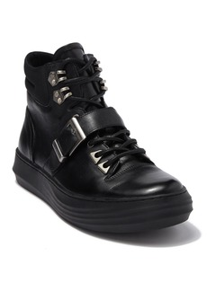 Karl Lagerfeld High Top Leather Sneaker With Buckle Strap
