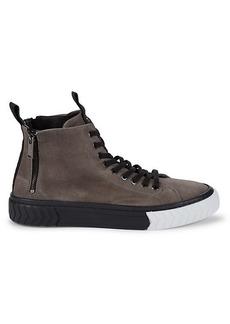Karl Lagerfeld High-Top Suede Double-Zip Sneakers