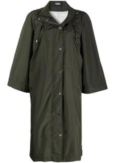 Karl Lagerfeld hooded long-length raincoat