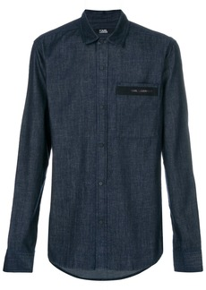 Karl Lagerfeld logo detail denim shirt - Blue