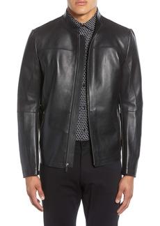 Karl Lagerfeld Paris Bonded Leather Racing Jacket