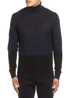 Karl Lagerfeld Paris Colorblock Wool Blend Turtleneck Sweater