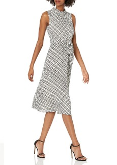 Karl Lagerfeld Paris Dresses Women's Printed Georgette Mock Neck Midi