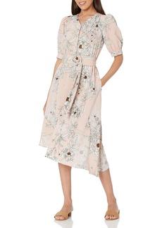 Karl Lagerfeld Paris Dresses Women's Printed Hammered Crepe Asymmetrical Midi