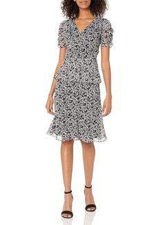 Karl Lagerfeld Paris Dresses Women's Tiered Printed Chiffon Dress