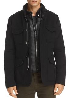 KARL LAGERFELD Paris Faux-Shearling Bibbed Jacket