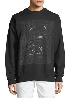 Karl Lagerfeld Paris Grid-Logo Graphic Crewneck Sweatshirt