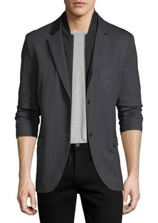 Karl Lagerfeld Paris Layered Baseball-Collar Bibbed Blazer