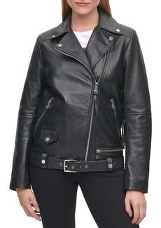 Karl Lagerfeld Paris Logo Fringe Leather Moto Jacket
