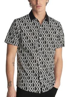 Karl Lagerfeld Paris Logo Print Short Sleeve Button-Up Shirt