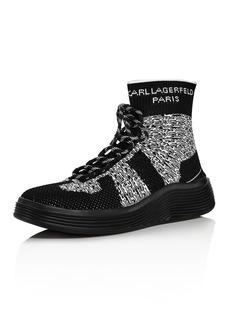 KARL LAGERFELD Paris Men's Knit High-Top Leather Sneakers