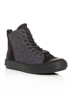 KARL LAGERFELD Paris Men's Nubuck Leather High-Top Sneakers