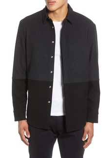 Karl Lagerfeld Paris Regular Fit Colorblock Wool Blend Shirt