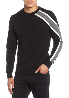 Karl Lagerfeld Paris Rugby Shoulder Stripe Crewneck Sweater