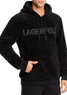 KARL LAGERFELD PARIS Sherpa Front Logo Hooded Sweatshirt