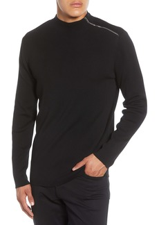 Karl Lagerfeld Paris Shoulder Zip Cotton Blend Sweater