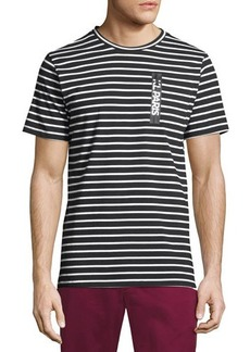 Karl Lagerfeld Paris Striped Zip-Pocket Short Sleeve Tee
