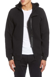 Karl Lagerfeld Paris Textured Two Zipper Hooded Jacket