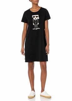 Karl Lagerfeld Paris Women's Short Sleeve Graphic T-Shirt Dress  XL