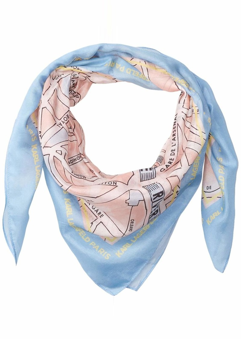 Karl Lagerfeld Paris Women's Printed Silk and Cotton Scarf