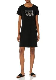 Karl Lagerfeld Paris Women's Sequin Emoji Karl T-Shirt Dress  XL