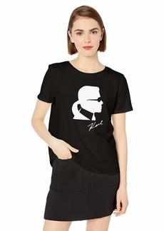 Karl Lagerfeld Paris Women's Short Sleeve Crew Neck Logo Tee