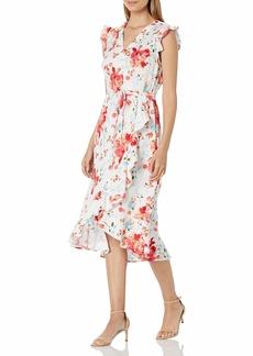 Karl Lagerfeld Paris Women's V-Neck Flutter Sleeve Linen High/Low Midi Dress withSelf Tie Waist