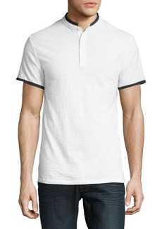 Karl Lagerfeld Short-Sleeve Cotton Henley