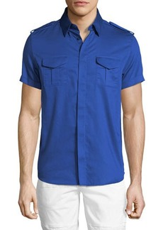 Karl Lagerfeld Short-Sleeve Military Shirt