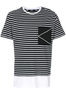 Karl Lagerfeld striped K Logo T-shirt - White